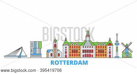 Netherlands, Rotterdam Line Cityscape, Flat Vector. Travel City Landmark, Oultine Illustration, Line