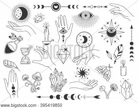 Boho Mystic Elements. Witch Magic Vintage Logos With Crystals, Hands, Moon And Eyes. Outline Spiritu