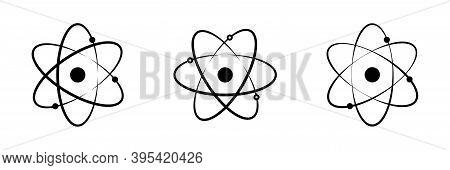 Atom Vector Icon Set. Atom Symbol Flat Collection.