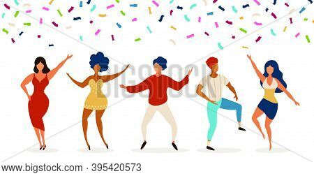 Dancers. Group Of Young People Dancing In Club. Celebration Party With Confetti. Happy Teens Dance,