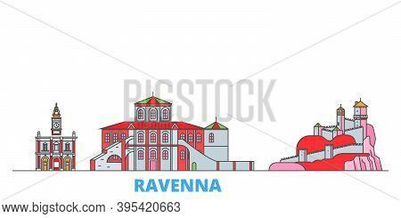 Italy, Ravenna Line Cityscape, Flat Vector. Travel City Landmark, Oultine Illustration, Line World I