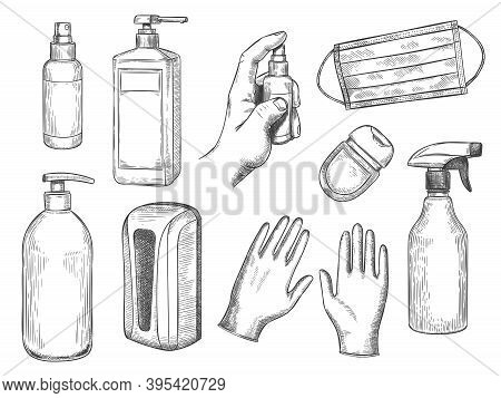 Sketch Sanitizer Bottle. Personal Protective Equipment. Medical Mask, Gloves, Liquid Soap And Antiba