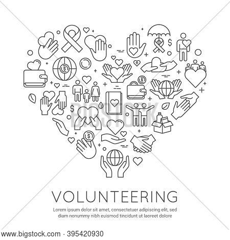 Volunteer Line Poster. Charity And Donation Banner, Heart Shaped Icons. Social Care Voluntary Work.