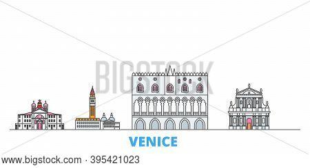 Italy, Venice Landmark Line Cityscape, Flat Vector. Travel City Landmark, Oultine Illustration, Line