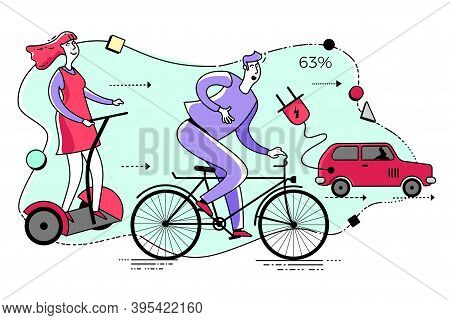 Ecological Illustration. Eco Friendly Transport. People Go By Electric Car, Segway, Bicycle.  Pollut