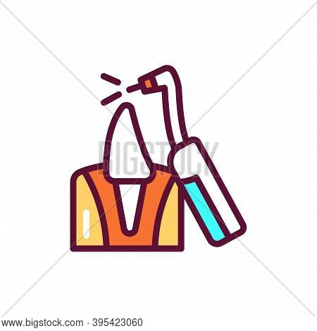 Animal Teeth Treatment Color Line Icon. Isolated Vector Element. Outline Pictogram For Web Page, Mob