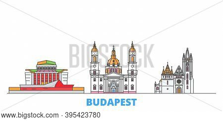 Hungary, Budapest City Line Cityscape, Flat Vector. Travel City Landmark, Oultine Illustration, Line