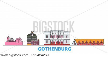 Sweden, Gothenburg Line Cityscape, Flat Vector. Travel City Landmark, Oultine Illustration, Line Wor