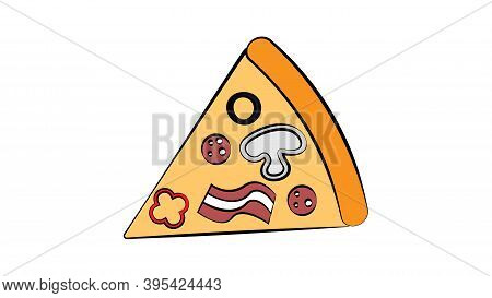 Slice Of Pizza On Thin Dough, On A White Background, Vector Illustration. Pizza With Filling, Vegeta