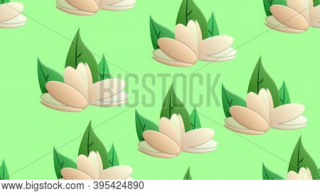 Pistachios On A Green Background, Vector Illustration, Pattern. Nuts For Food And Drinks. Green Pist