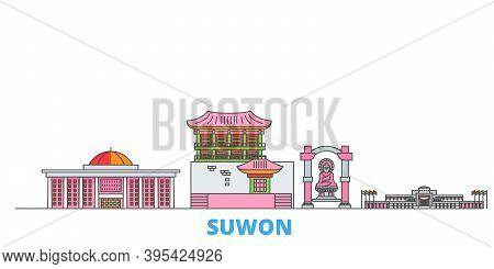 South Korea, Suwon Line Cityscape, Flat Vector. Travel City Landmark, Oultine Illustration, Line Wor