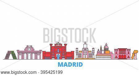 Spain, Madrid Line Cityscape, Flat Vector. Travel City Landmark, Oultine Illustration, Line World Ic