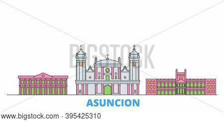 Paraguay, Asuncion Line Cityscape, Flat Vector. Travel City Landmark, Oultine Illustration, Line Wor