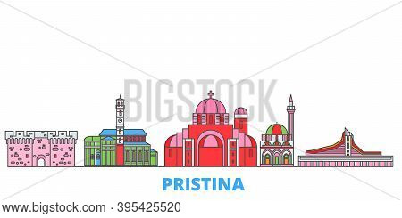 Kosovo, Pristina Line Cityscape, Flat Vector. Travel City Landmark, Oultine Illustration, Line World