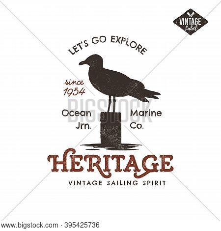 Vintage Hand Drawn Label Design. Seagull Symbol. Letterpress Effect. Typography Insignia, T-shirt Ap