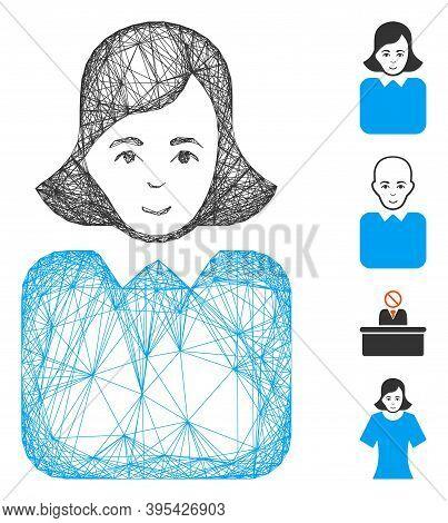 Vector Net Bureaucrat Woman. Geometric Hatched Frame 2d Net Made From Bureaucrat Woman Icon, Designe