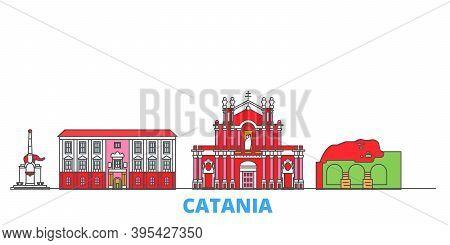 Italy, Catania Line Cityscape, Flat Vector. Travel City Landmark, Oultine Illustration, Line World I