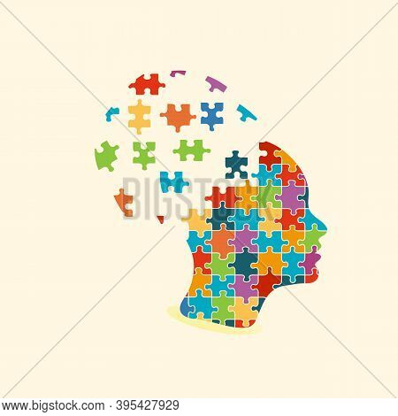 Silhouette Of Female Head With Multicolored Puzzle Pieces. Education, Knowledge, Psychology, Memory,