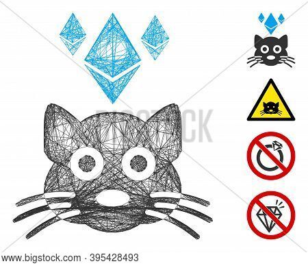 Vector Wire Frame Ethereum Crypto Kitty. Geometric Wire Frame 2d Network Generated With Ethereum Cry
