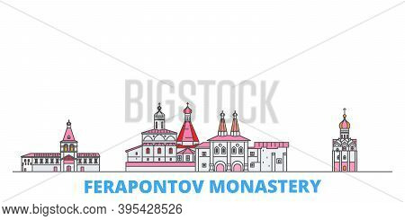 Russia, Vologda, Ferapontov Monastery Line Cityscape, Flat Vector. Travel City Landmark, Oultine Ill