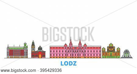 Poland, Lodz Line Cityscape, Flat Vector. Travel City Landmark, Oultine Illustration, Line World Ico