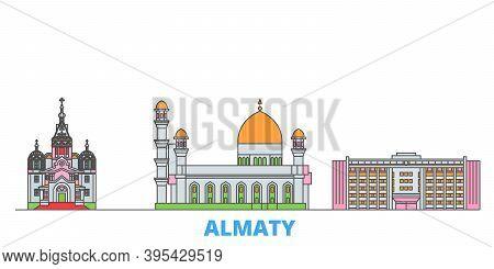 Kazakhstan, Almaty Line Cityscape, Flat Vector. Travel City Landmark, Oultine Illustration, Line Wor