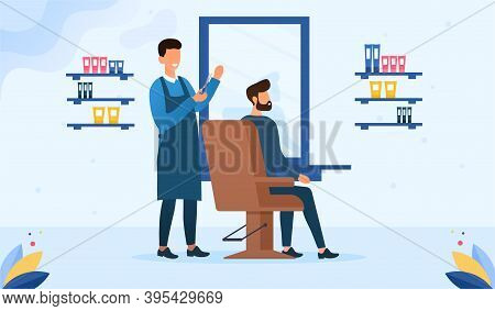 Barbershop, Hairdresser Service Concept. Hairdresser Holding Scissors And Doing Haircut For Young Ma