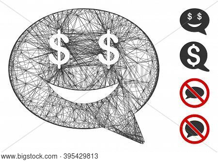 Vector Wire Frame Millionaire Message Smile. Geometric Linear Frame 2d Net Made From Millionaire Mes