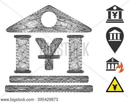 Vector Wire Frame Yen Bank Building. Geometric Hatched Frame 2d Net Made From Yen Bank Building Icon