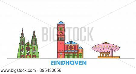 Netherlands, Eindhoven Line Cityscape, Flat Vector. Travel City Landmark, Oultine Illustration, Line