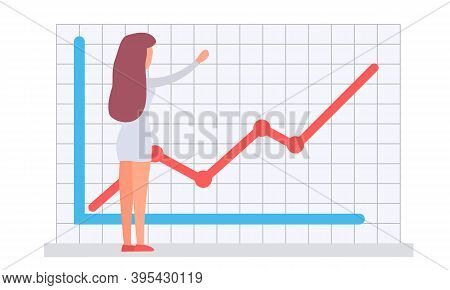 Woman Office Worker Manager Analyzes Demand On Presentation With Increasing Graph, Checks Indicators