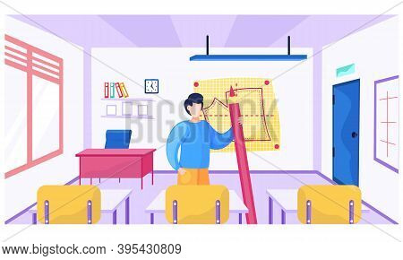 Male Teacher At School For Seamstresses Explains New Topic. Sewing Lesson At School For Seamstresses
