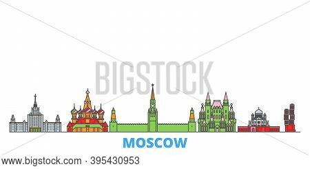 Russia, Moscow Line Cityscape, Flat Vector. Travel City Landmark, Oultine Illustration, Line World I