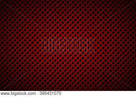 Perforated Dark Red Metallic Background. Abstract Stainless Steel Banner. Simple Vector Illustration
