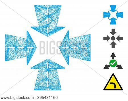 Vector Wire Frame Merge Directions. Geometric Wire Carcass Flat Net Made From Merge Directions Icon,