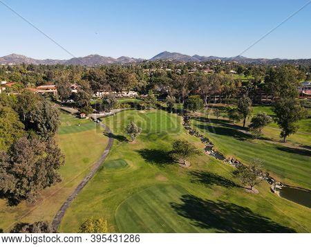Aerial View Of Golf In Upscale Residential Neighborhood During Autumn Season, Rancho Bernardo, San D