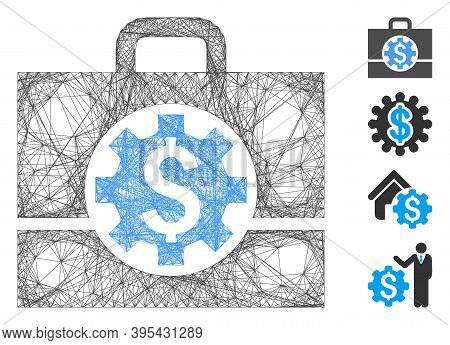 Vector Wire Frame Bank Career Options. Geometric Wire Frame Flat Network Generated With Bank Career