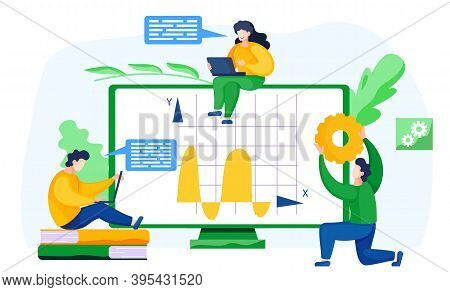 Students Study Economic Statistics Remotely. Online Math Course. Learning Mathematics In Internet, I