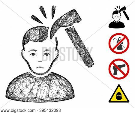 Vector Wire Frame Murder With Hammer. Geometric Wire Frame 2d Net Made From Murder With Hammer Icon,