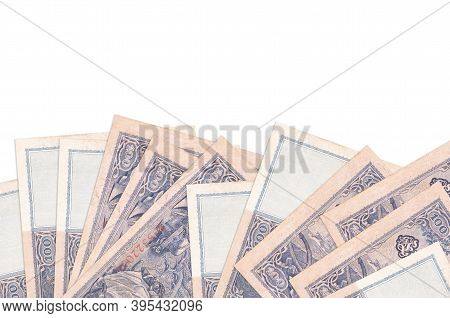 100 Reich Marks Bills Lies On Bottom Side Of Screen Isolated On White Background With Copy Space. Ba