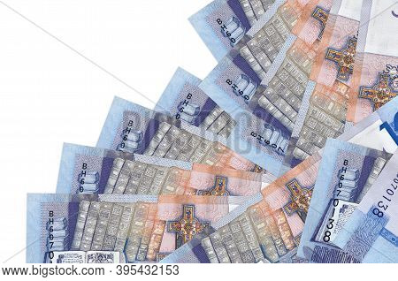 10 Belorussian Rubles Bills Lies In Different Order Isolated On White. Local Banking Or Money Making