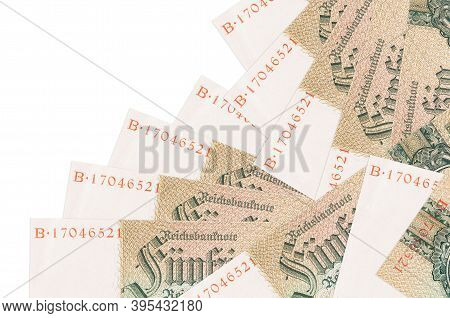 50 Reich Marks Bills Lies In Different Order Isolated On White. Local Banking Or Money Making Concep