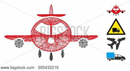 Vector Net Cargo Plane. Geometric Hatched Frame 2d Net Made From Cargo Plane Icon, Designed From Cro