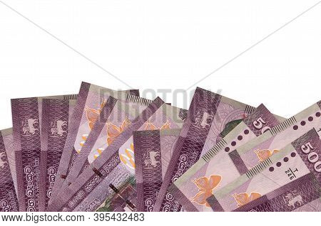 500 Sri Lankan Rupees Bills Lies On Bottom Side Of Screen Isolated On White Background With Copy Spa