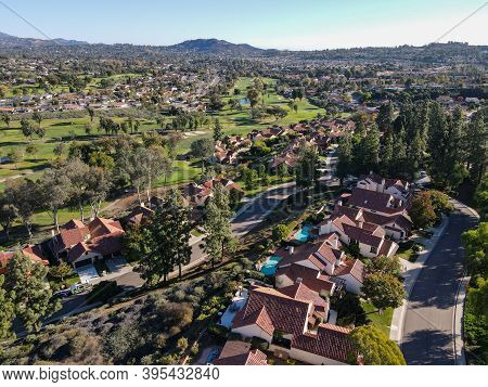 Aerial View Of Middle Class Neighborhood With Residential House Community In Rancho Bernardo During