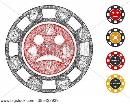 Vector Net Pity Casino Chip. Geometric Linear Carcass Flat Net Made From Pity Casino Chip Icon, Desi