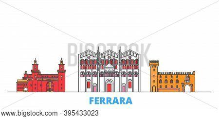 Italy, Ferrara Line Cityscape, Flat Vector. Travel City Landmark, Oultine Illustration, Line World I