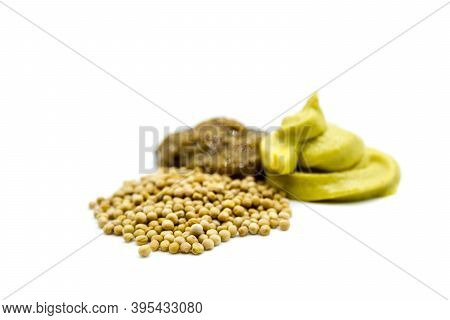 Mustard , Sweet Mustard And Mustard Seeds Isolated On White Background