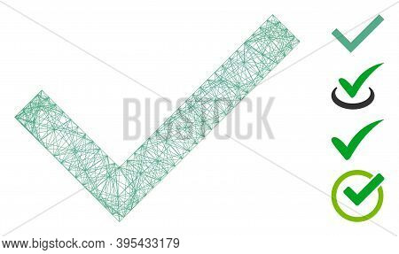 Vector Wire Frame Accept. Geometric Wire Frame 2d Net Made From Accept Icon, Designed With Crossing