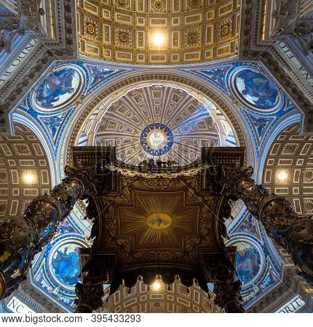 Rome, Vatican State - August 24, 2018: Interior Of Saint Peter Basilica With Cupola Detail